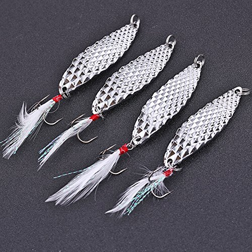 Sougayilang Spoons Hard Fishing Lures Treble Hooks Salmon Bass Metal Fishing Lure Baits Pack of 5pcs (Fishing Hooks For Bass compare prices)