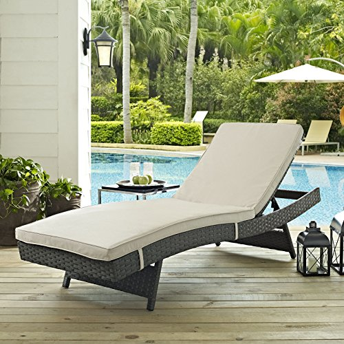 LexMod Sojourn Outdoor Patio Chaise, Sunbrella® Canvas Antique Beige 5