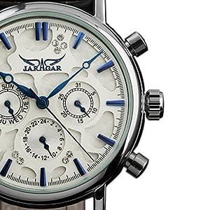 ESS Men's Black Leather Crystal White Automatic Mechanical Sport Date Week Wrist Watch Man Men WM368