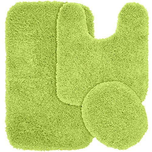 Garland Rug 3-Piece Jazz Shaggy Washable Nylon Bathroom Rug Set, Lime Green