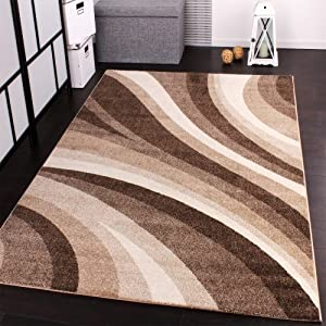 Designer Rug Modern Carpets for living room and more with Waves Design in Beige by PHC