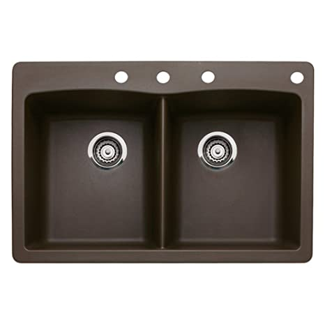 Blanco 440218-4 Diamond 4-Hole Double-Basin Drop-In or Undermount Granite Kitchen Sink, Cafe Brown