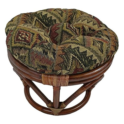 Rattan Footstool with Tapestry Cushion