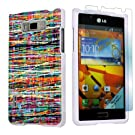 LG Optimus Showtime L86C White Protective Case + Screen Protector By SkinGuardz - Multi Paint