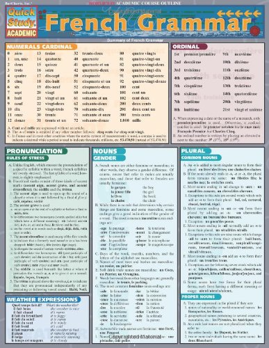 French Grammar (Quickstudy: Academic) by Inc. BarCharts