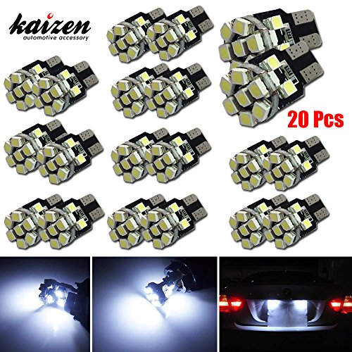 Kaizen 20pcs 12Vdc 360 Degree LED Light Lamps 13pcs High Power 1210(3528) SMDs In It For Car LED Lighting Conversion: Interior Map Dome Lights, Side Door Lights, License Plate Lights, Parking Lights, etc Sockets 168 194 920 921 2825 W5W T10 T15, etc Color Temperature 6000K Color Xenon White