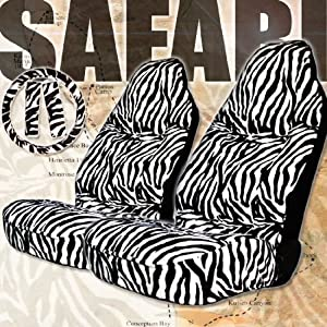Premium Grade 5 Pieces Zebra Print High Back Car Seat Covers Set with Steering Wheel and Seat Belt Covers from YupbizAuto