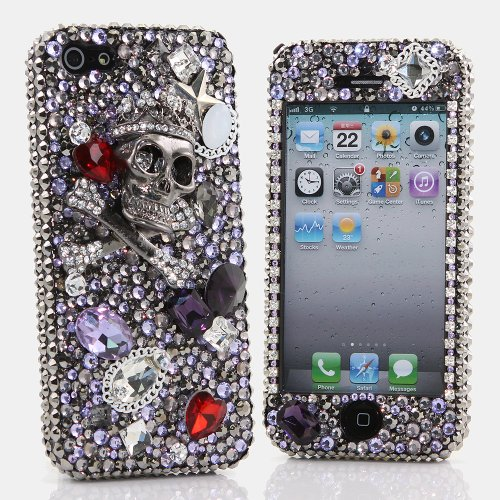 Best Price BlingAngels® 3D Luxury Bling iphone 5 5s Case Cover Faceplate Swarovski Crystals Diamond Sparkle bedazzled jeweled Design Front & Back Snap-on Hard Case + FREE Premium Quality Stylus and Water-Resistant Bag (100% Handcrafted by BlingAngels) (Large Silver Skull Design)