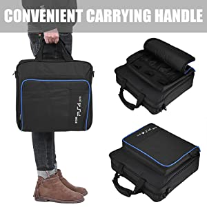 fosa PS4 Pro Carrying Case Bag, Waterproof Shockproof Game System Protective Travel Case for PlayStation 4 Pro System and Accessories (Color: PS4 Pro Bag)