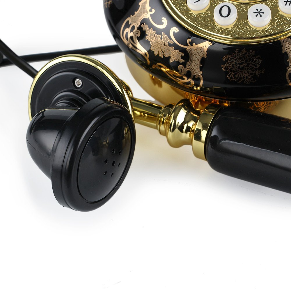 LNC Black Ceramic LNC Retro Vintage Antique Style Push Button Dial Desk Telephone Phone Home Living Room Decor 2