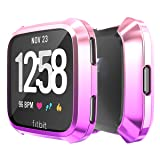 Smilego Soft TPU Plated Screen Protector All-Around Protective Cover Shell Case Compatible with Fitbit Versa Lite Edition Smartwatch Scratchproof Anti-Shatter Anti-Impact Pink+Blue+Rose Gold+Purple