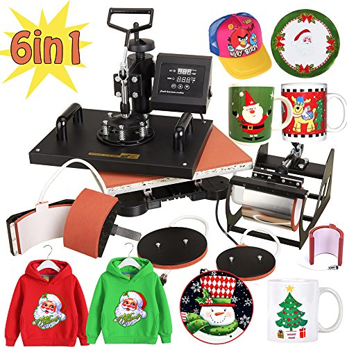 SALES PROMOTION Super 6 in1 T-shirt Heat Press Machine Transfer Sublimation Hat Mug Plate Cap(US Shipping)-Get it for Xmas (3d Printer Press compare prices)