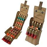 Kosibate HOT 25 Round Shotgun Shotshell Reload Holder Molle Pouch for 12 Gauge/20G (Tan) (Color: Tan, Tamaño: Large)