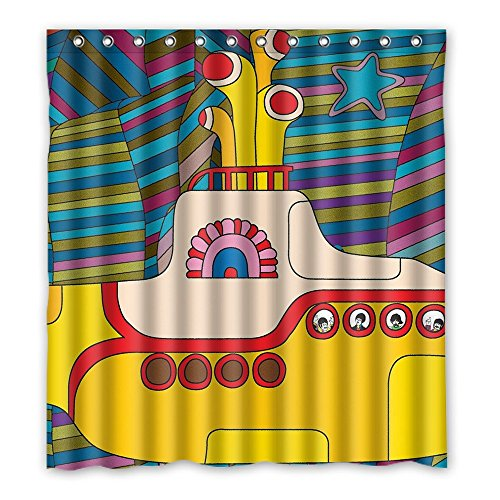 SANMOU Custom Yellow Submarine Shower Curtain Waterproof Polyester Bathroom 66