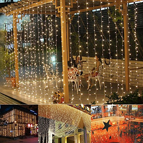 Ucharge Led Light Curtain Icicle Lights 300led 9.8feet 8modes Linkable Warm White Christmas Curtain String Fairy Wedding Lights for Home, Garden, Kitchen, Outdoor Wall, Party, Window Decorations (Line Voltage Door Switch compare prices)