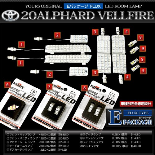 トヨタ 20系 アルファード ヴェルファイア 専用LEDルームランプセット 前期型・後期型対応【EパッケージFLUXタイプ:クリアで高級感のある輝き】 E-F