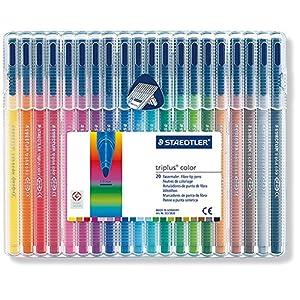 Staedtler Triplus Colour 323 SB20 Fibre-Tip Pen Desktop Box - Assorted Colours (Pack of 20)