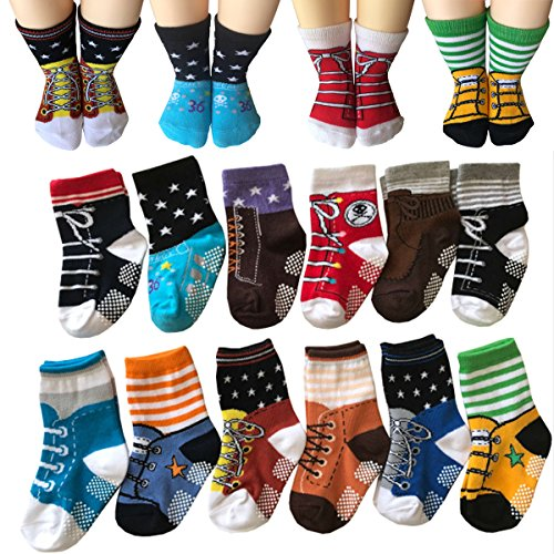 Todder 6 Pairs Non Sikd Shoe Socks Infant Baby Boy Anti Slip Cotton Cozy Ankle Low Cut Footsocks Sneakers Crew Walker Socks With Grips For 6-24 Months Kakalu (Baby Shoes For Boys compare prices)
