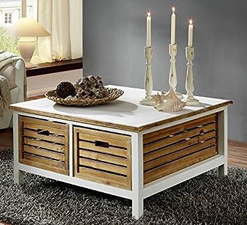 Beistelltisch Tisch Couchtisch 'Bordeaux' Paulownia weiß Holz vintage