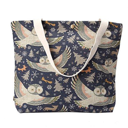 Wewod Fashion shopping borsa gufo stampa borsa a mano, Cartoon Owl, 43cmx38cm