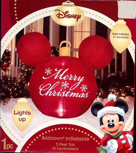 Disney mickey mouse ears red merry christmas ornament for Outdoor merry christmas ornaments