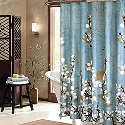 Uphome Beautiful White Cherry Blossom Bathroom Shower Curtain - Blue Waterproof Polyester Fabric Decorative Bath Curtain Designs (55\