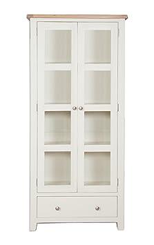 Hobart Ivory Rustic Oak Top Large Glazed Display Cabinet / Solid Oak Top Display Cabinet with 3 Shelves / Living Room Furniture