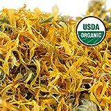 Calendula Tea 100% Organic (USDA seal) Whole Flower Calendula Herbal Tea (Calendula officinalis), Caffeine Free in 1 lbs. Bulk Resealable Kraft BPA free Bags from U.S. Wellness