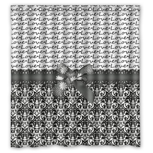 "Atnee Black And White Love Damasks With Bowknot Shower Curtain Standard Inch Size 66""(W) X 72""(H)"