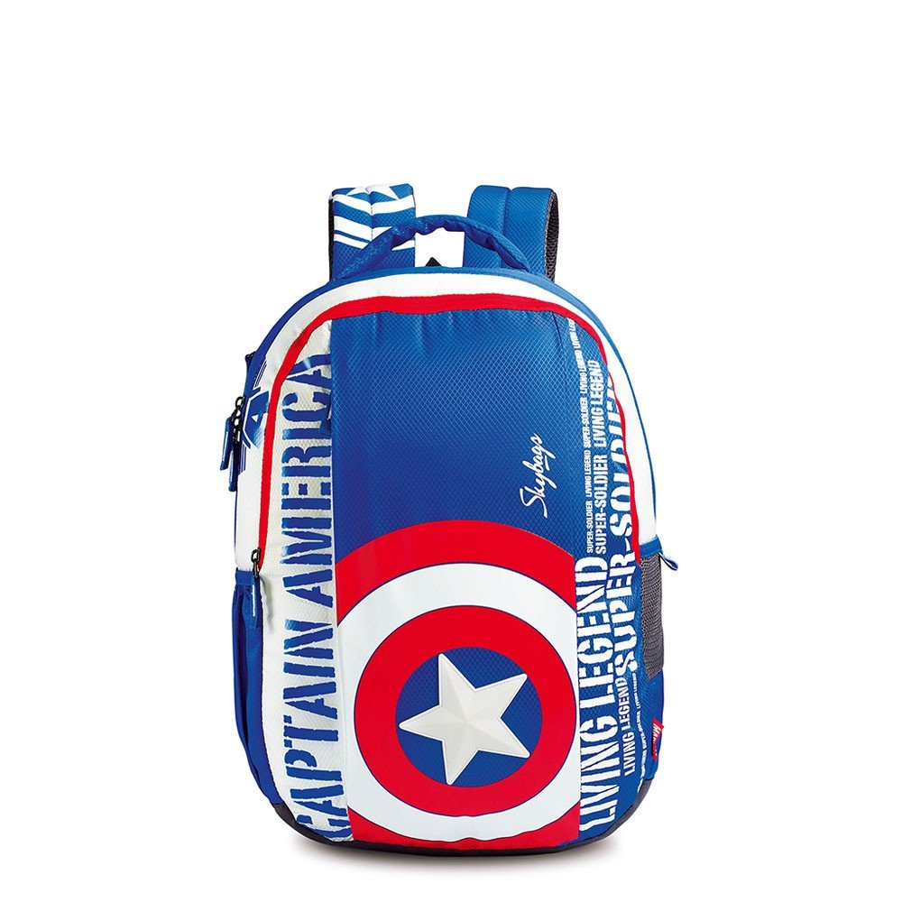 Skybags Polyester Sb Marvel Capam 03 Blue 32 Ltrs School Bag