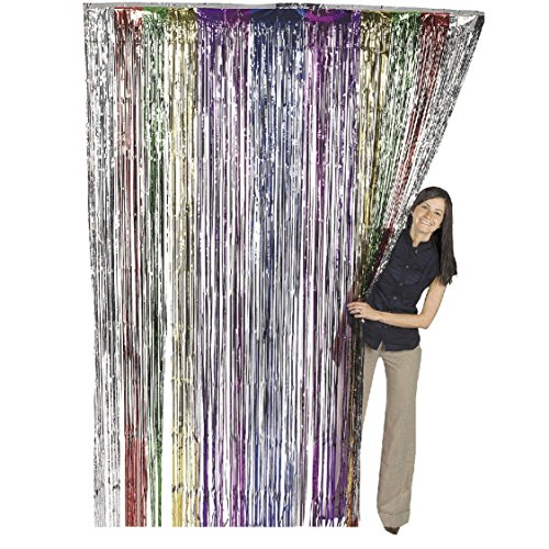 Metallic Rainbow Foil Fringe Shiny Curtains for Party, Prom, Birthday ...