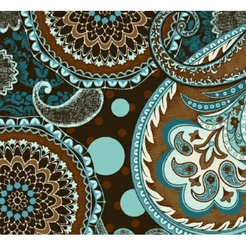 ... Brothers 'French Dress' Teal and Brown Paisley Cotton Fabric - 1yd