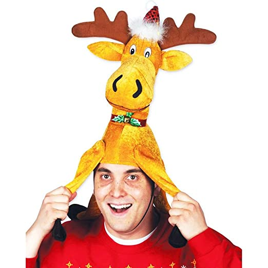 Beistle 20705 1 Piece Plush Christmas Moose Hat, One Size Fits Most