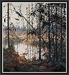 17.75in x 19.25in Northern River by Tom Thomson - Black Floater Framed Canvas w/ BRUSHSTROKES