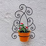 Wrought Iron Wall Bracket With Metal Bucket - Black & Yellow