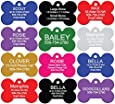 Pet ID Tags - Bone, Round, Heart, and Rectangle. Front and Back Engraving. Various Colors and Sizes. For Dogs and Cats. Anodized Aluminum.