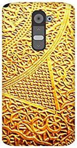The Racoon Lean golden intricacy hard plastic printed back case / cover for LG G2