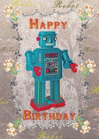 Alles Gute zum Geburtstag-Roboter-Grußkarte von Mimi
