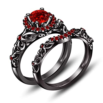 VORRA FASHION BLACK RHODIUM ROUND RED GARNET SOLITAIRE ENGAGEMENT WEDDING RING SET .925