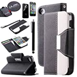 iPhone 4S Case, iPhone 4 Case, ULAK Luxury Wallet Case for iPhone 4S iPhone 4 PU Leather Credit Card Holder Flip Magnet Stand Cover with Screen Protector and Stylus (Black+White)