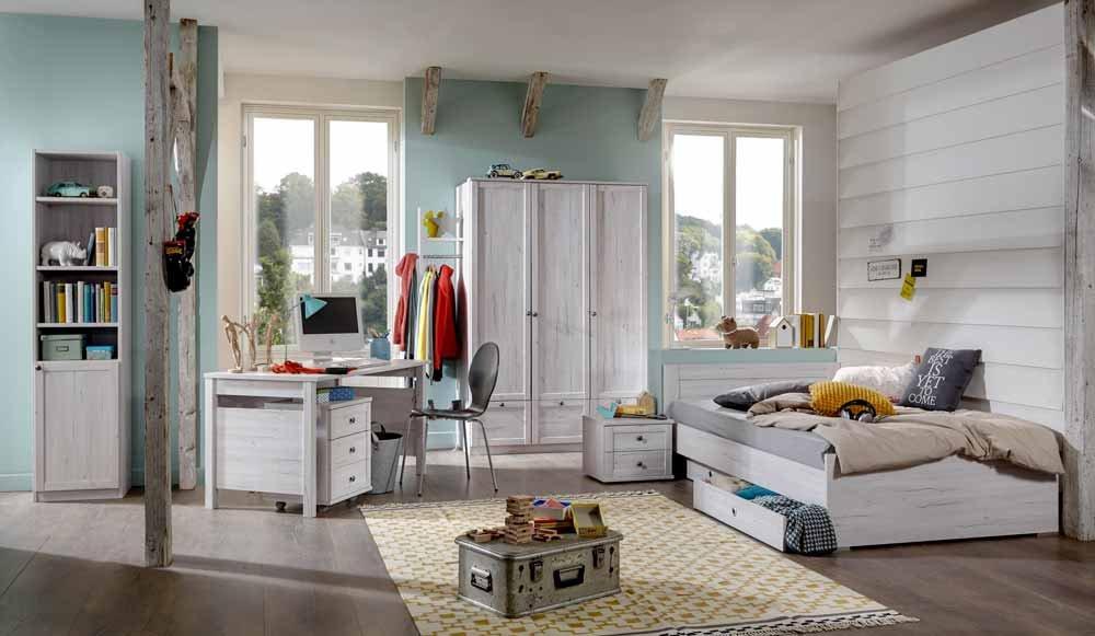 Jugendzimmer 3-tlg. in Weißeiche-Nachbildung, Kleiderschrank Breite: 135 cm, Bett 90x 200 cm, Schreibtisch Breite: 140 cm