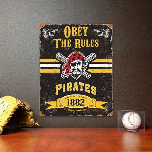Pittsburgh Pirates Party Animal Embossed Vintage Metal Sign