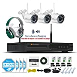 Jennov CCTV Wireless Security Bullet IP Camera System 4 Channel 1080P HDMI NVR Wifi HD Indoor/Outdoor White Cameras Night Vision Remote Access With Audio Record(No Hard Drive)