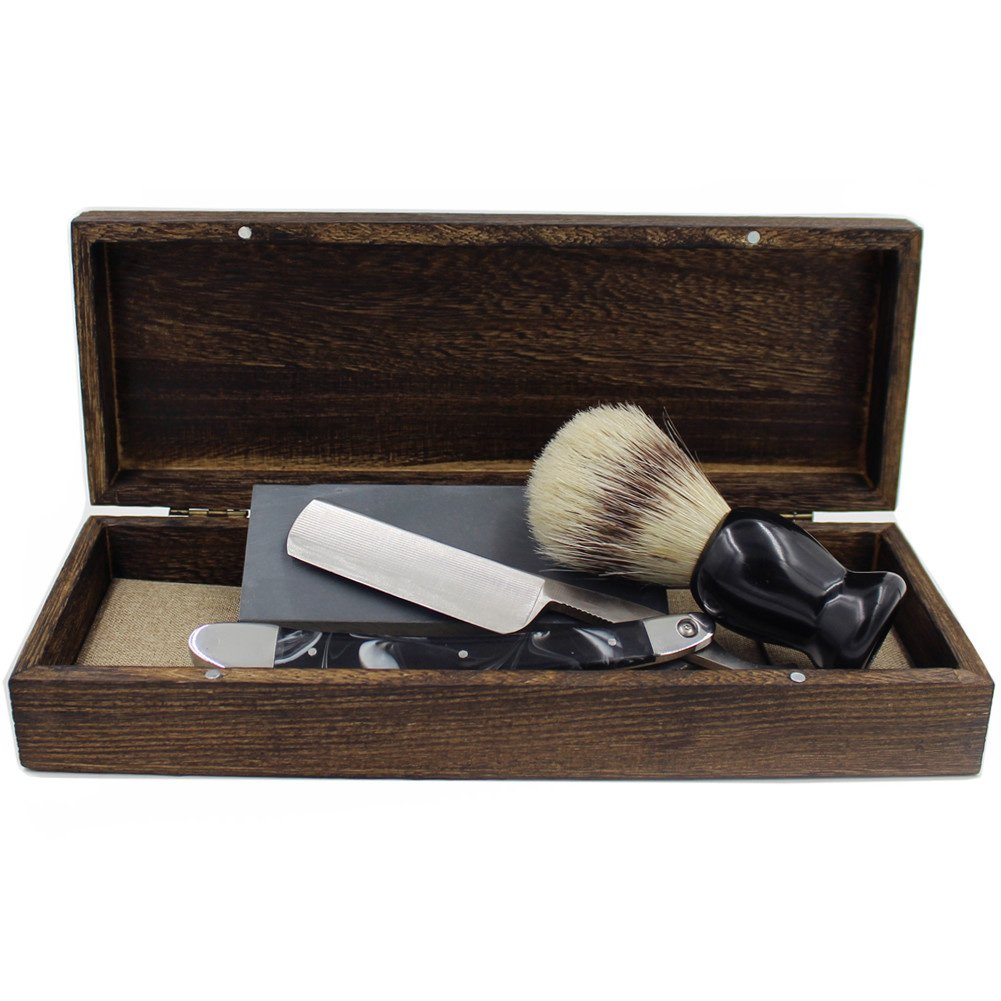 Vintage Cut Throat Straight Razor Black Silver Handle Bristle Shaving Brush Natural Whetstone and Wooden Box Set with Gift Bag 0