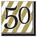 Black & Gold 50th Lunch Napkins - 16 Per Unit