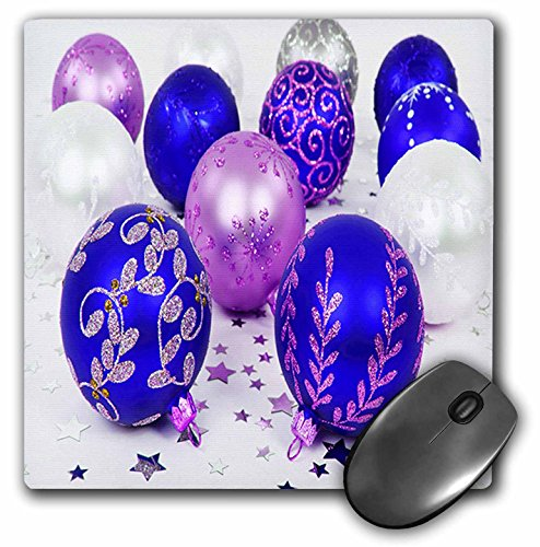 Yves Creations Christmas Decorations - Blue and Purple Christmas Baubles - MousePad (mp_36870_1)