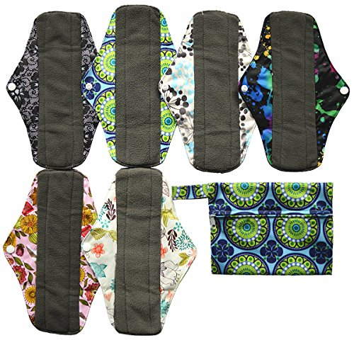 7pcs Set 1pc Mini Wet Bag +6pcs 10 Inch Regular Charcoal Bamboo Mama Cloth/ Menstrual Pads/ Reusable Sanitary Pads (Mama Cloth Pads compare prices)