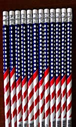 6 - American Flag #2 Pencils - Patriotic - Back to School