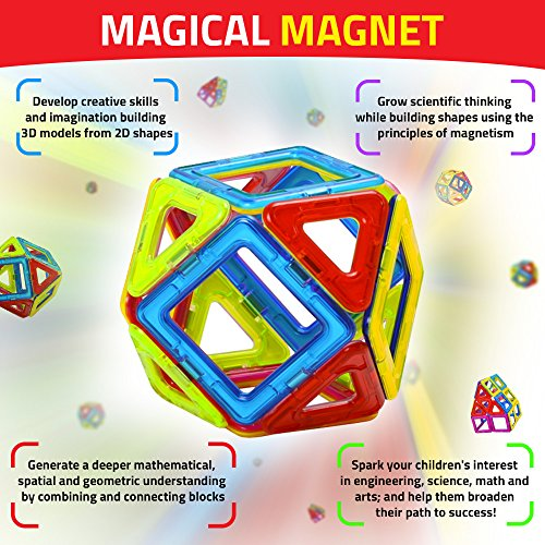 Magical Magnet Building Learning Toy Set for Kids - Magnetic Shapes for All Children and Involved Parents to Enhance Creative Thinking Spatial Logic Color Shapes Training Critical Thinking - 71pc