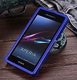 【Fitwhiny】Xperia A2 SO-04F/Xperia J1 Compact アルミバンパー【全10色】イヤホンジャックキャップ付き メタルバンパー ケース カバーアルミ バンパー フラットデザイン スライド式 SO04F (ブルーメタリック)(167-5)